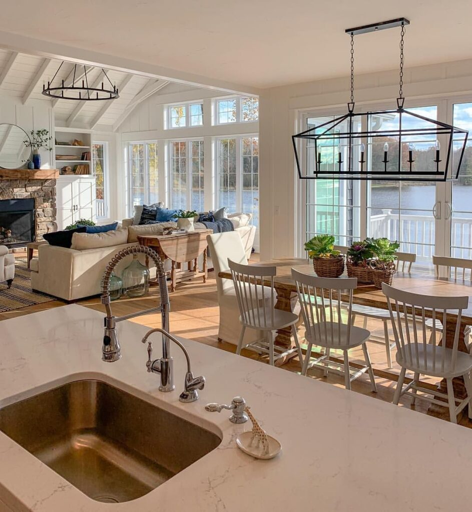 Kitchen and living room overlooking a Michigan lake
