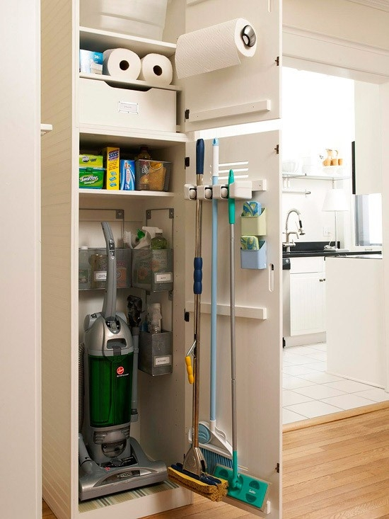 Organized cleaning closet lake home essential
