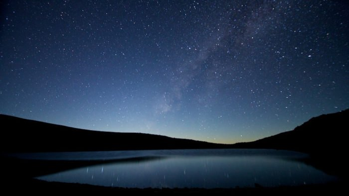 Lake Waiau view of milky way during night Big Island Mauna Kea