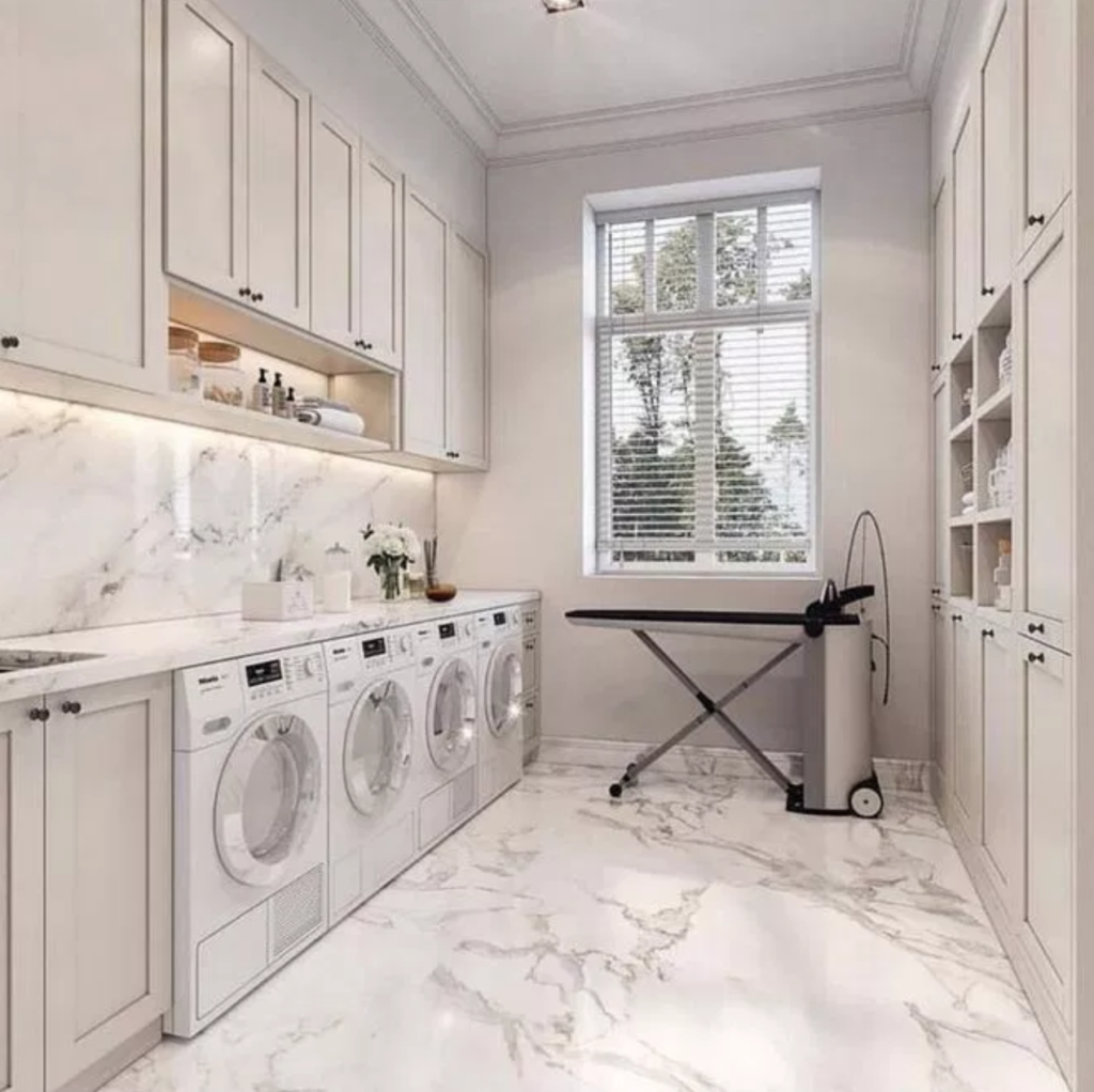 Marble and white laundry room