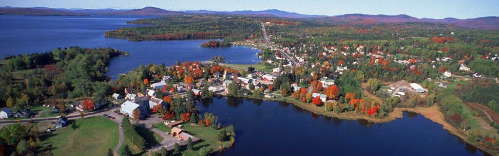 Aerial shot of Rangeley Lake