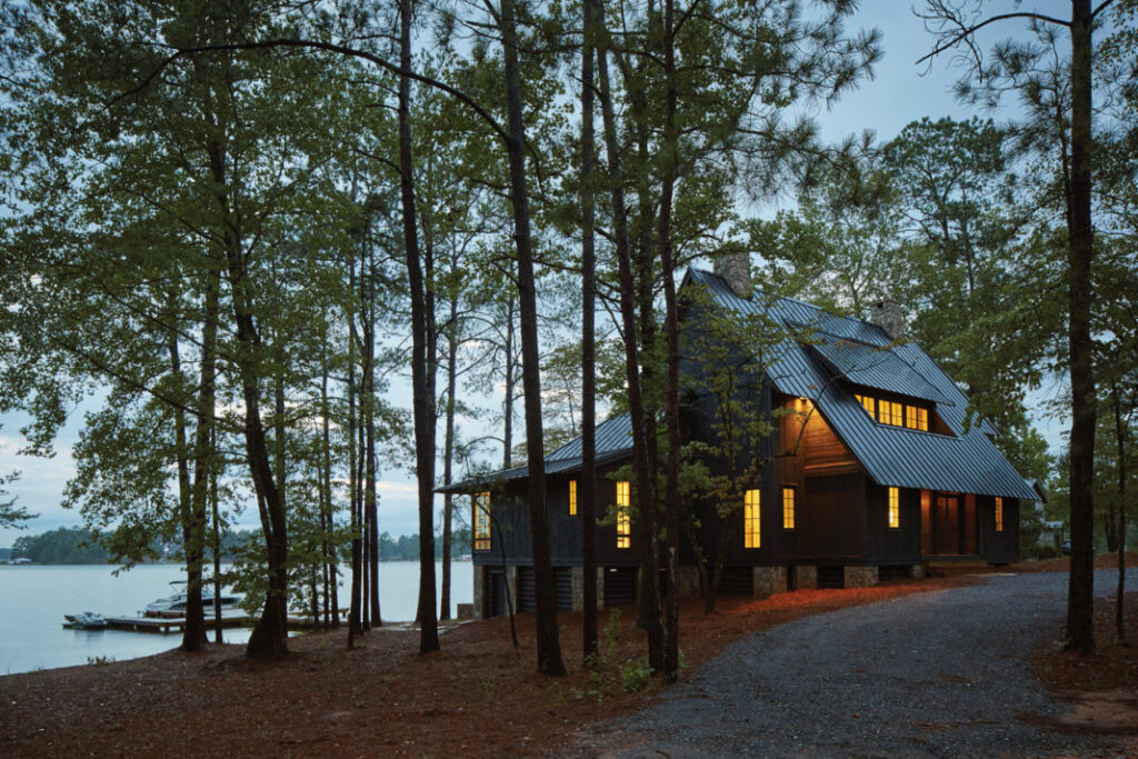 Lake house surrounded by trees for privacy