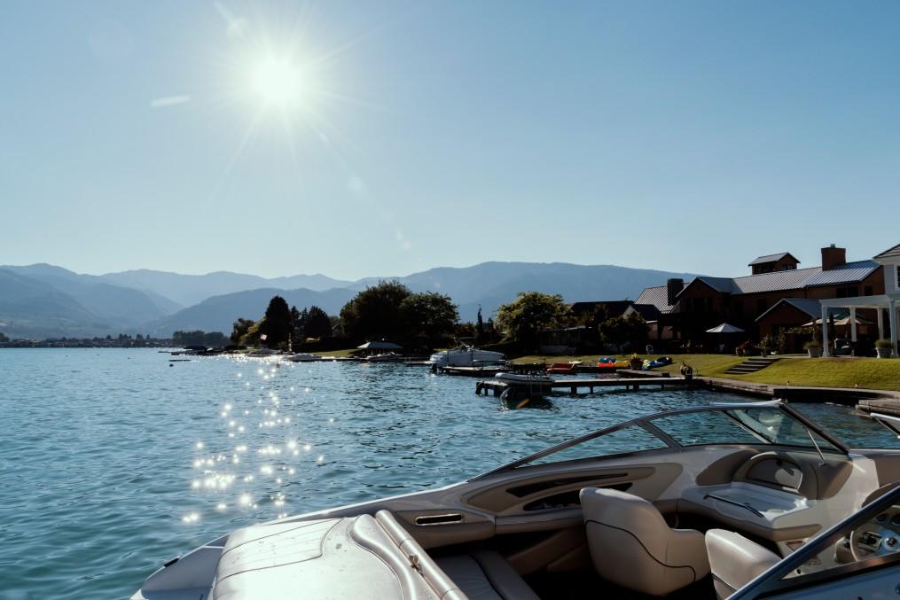 Boats under summer sun at lake