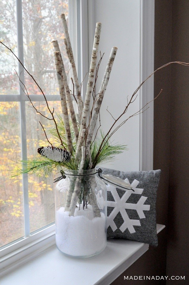 Tree branches as winter decoration