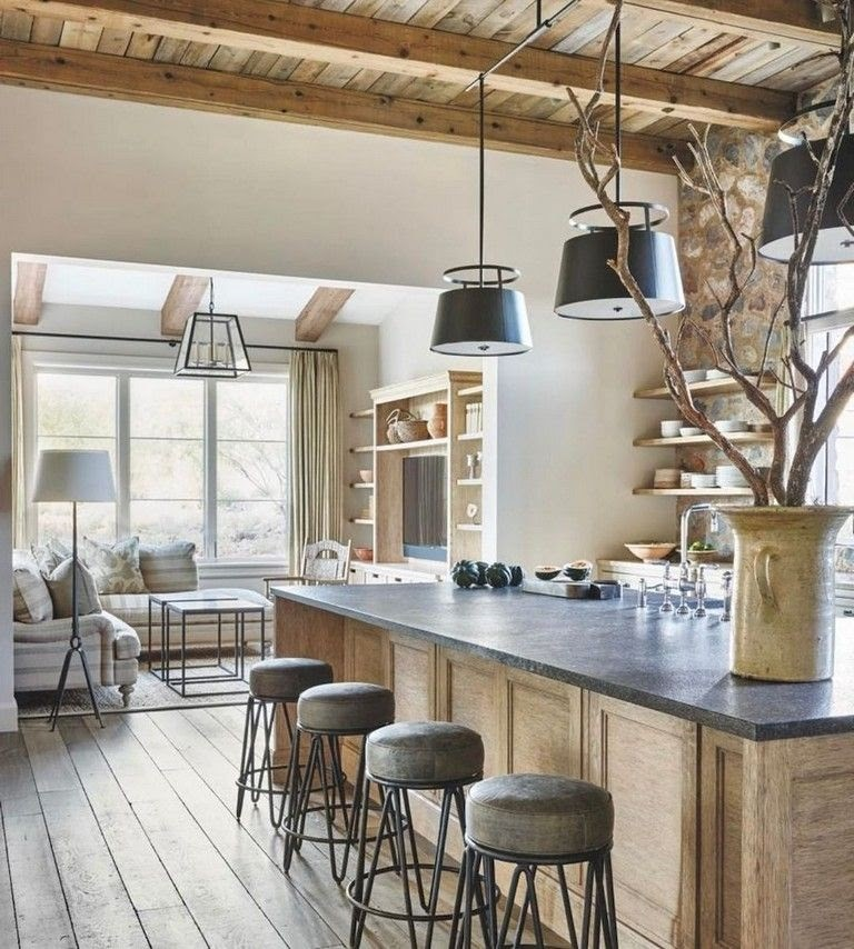 Warm natural toned kitchen with exposed beam ceiling