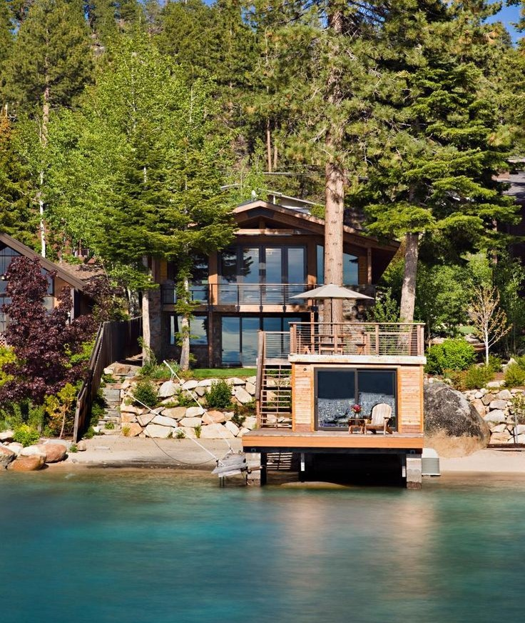 Rustic style Lake house with blue water shoreline ownership