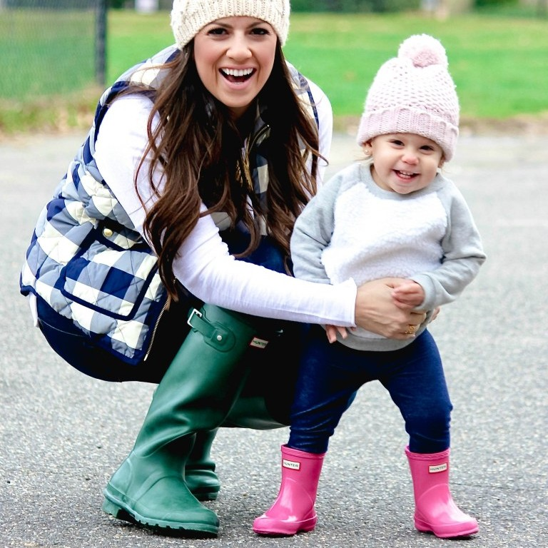 Mother and daughter in matching Hunter boots best shoes for water