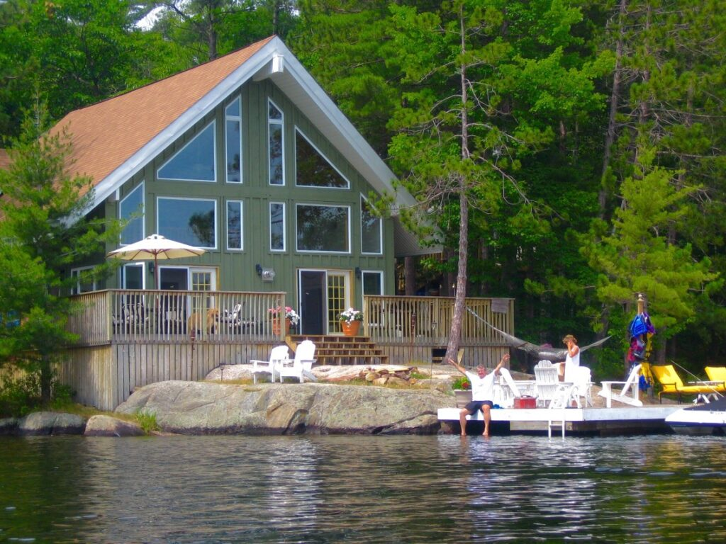 lakefront house with family