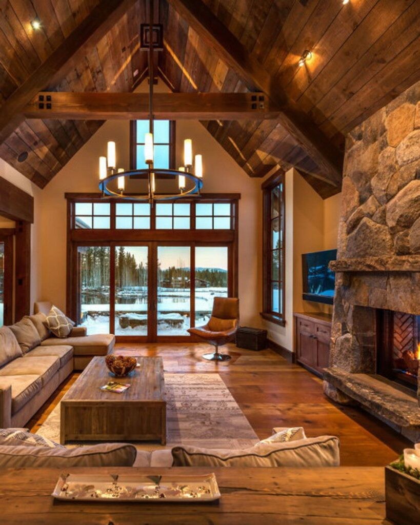 Cozy winter lake home constructed by Mark Tanner Construction