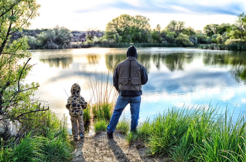 Father and son fishing at Lake LBJ
