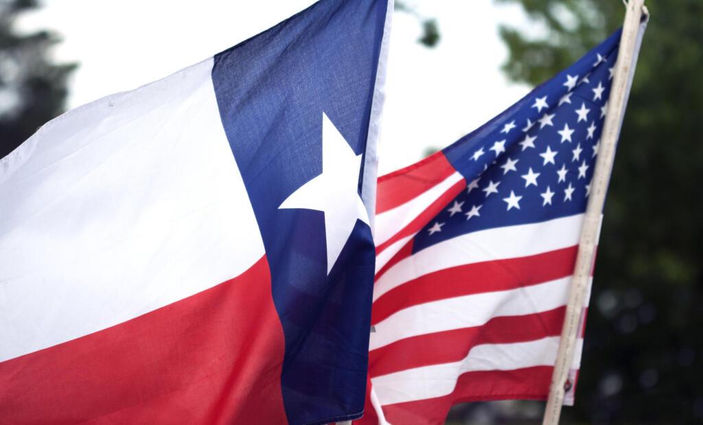 Texas flag and USA flag