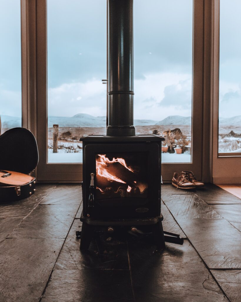 Small tiny home furnace during winter