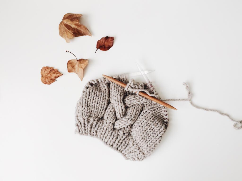 Knitting a beanie fall