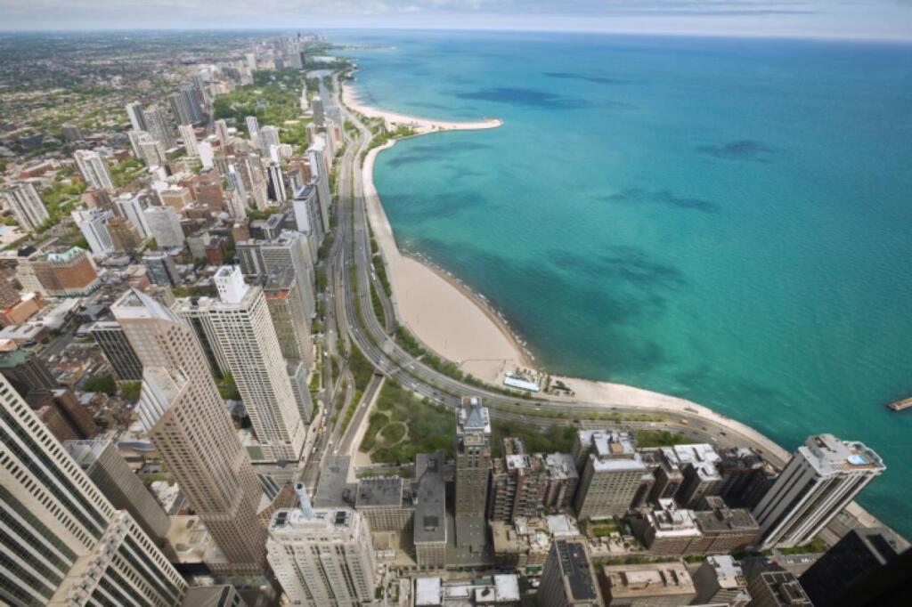 Michigan sandy beaches aerial birds eye view