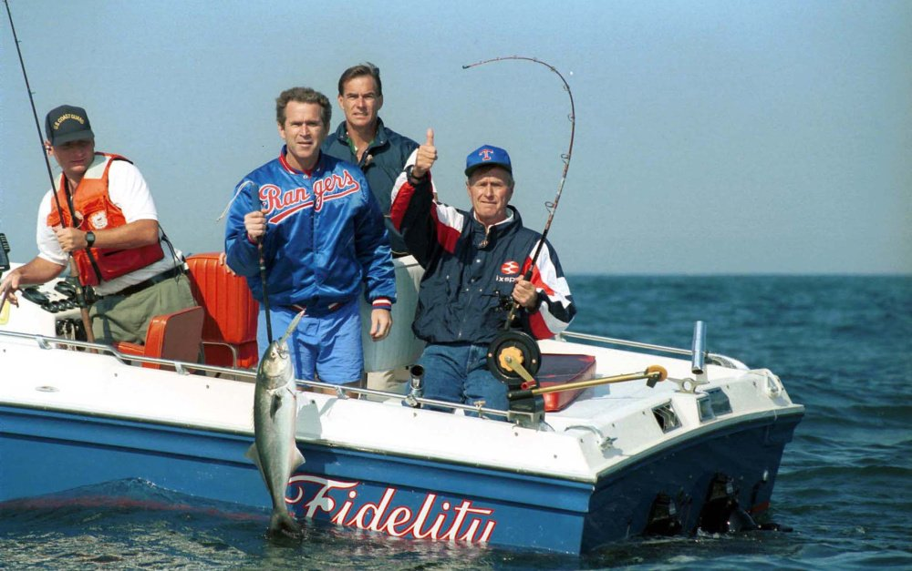Former presidents fishing on boat