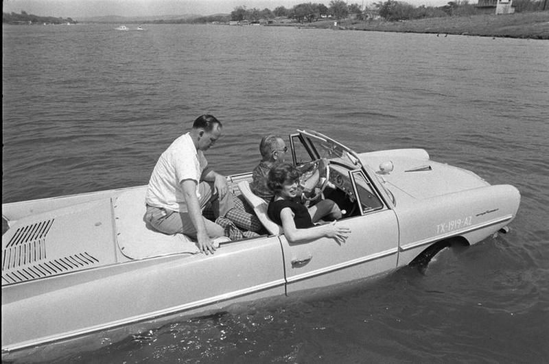 Former President LBJ driving his Amphicar