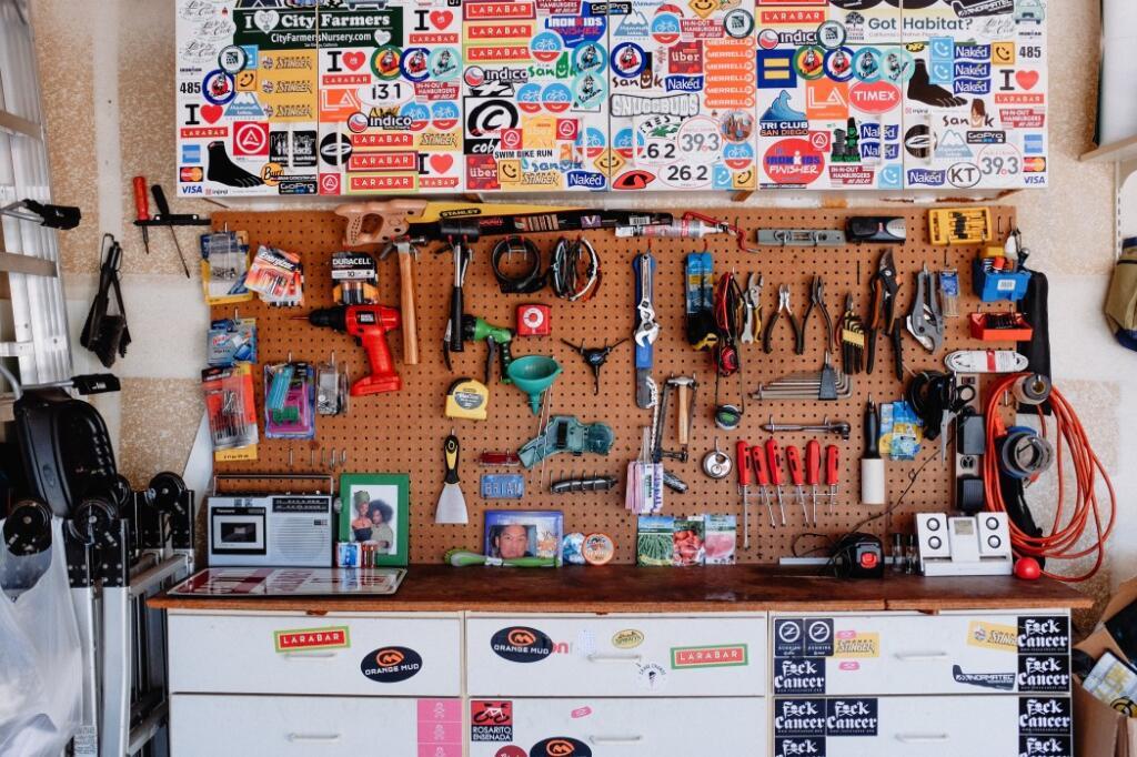 Lake house garage organization