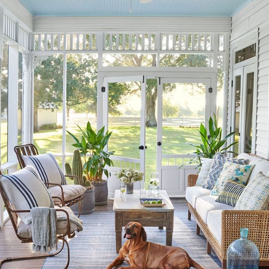 neutral wicker patio farmhouse style - southern living decor inspiration